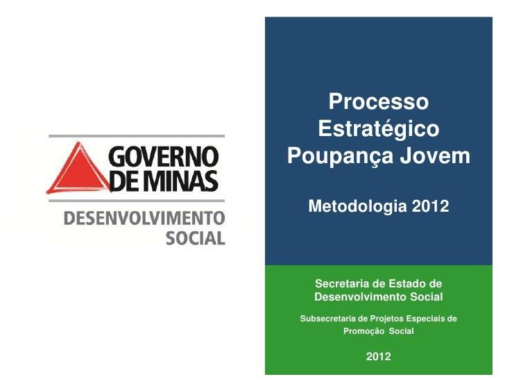 Processo  EstratégicoPoupança Jovem  Metodologia 2012    Secretaria de Estado de    Desenvolvimento Social Subsecretaria d...