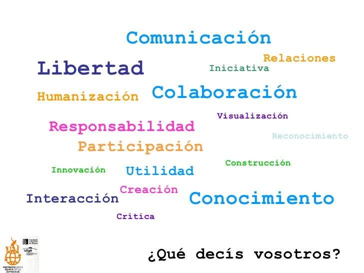 Libertad Responsabilidad Humanización Participación Utilidad Colaboración Construcción Crítica ¿Qué decís vosotros? Innova...