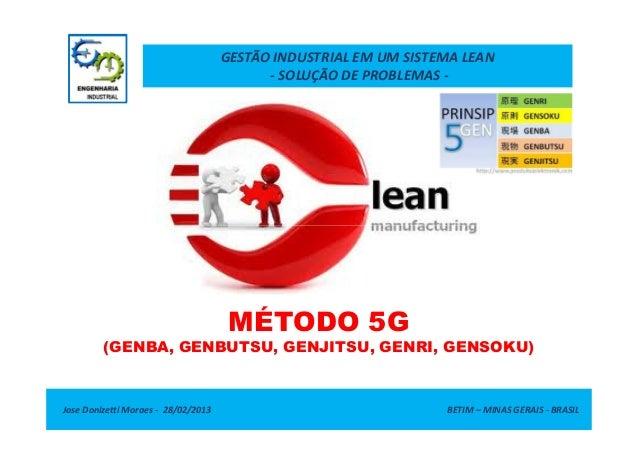 GESTÃO INDUSTRIAL EM UM SISTEMA LEAN - SOLUÇÃO DE PROBLEMAS -  MÉTODO 5G (GENBA, GENBUTSU, GENJITSU, GENRI, GENSOKU)  Jose...