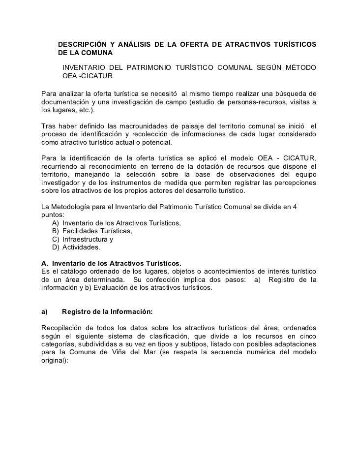 DESCRIPCIÓN Y ANÁLISIS DE LA OFERTA DE ATRACTIVOS TURÍSTICOS      DE LA COMUNA        INVENTARIO DEL PATRIMONIO TURÍSTICO ...