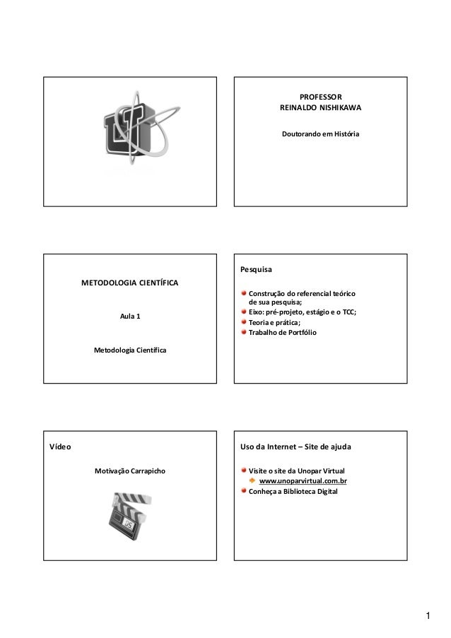 1 PROFESSOR REINALDONISHIKAWA DoutorandoemHistória METODOLOGIACIENTÍFICA Aula1 MetodologiaCientífica Pesquisa Cons...