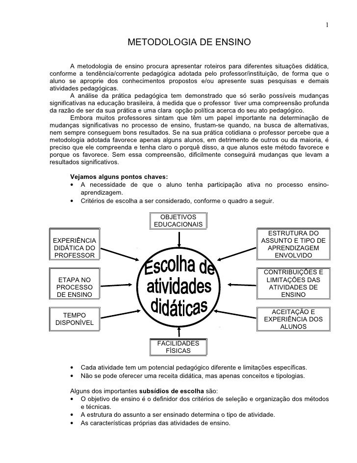 1                           METODOLOGIA DE ENSINO        A metodologia de ensino procura apresentar roteiros para diferent...