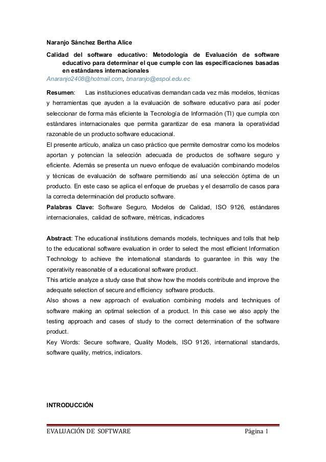 Naranjo Sánchez Bertha Alice  Calidad del software educativo: Metodología de Evaluación de software  educativo para determ...
