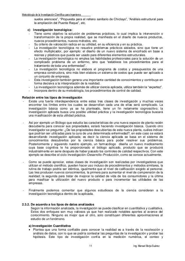 """Metodología de la Investigación Científica para ingenieros 11 Ing. Manuel Borja Suárez suelos arenosos"""", """"Propuesta para e..."""