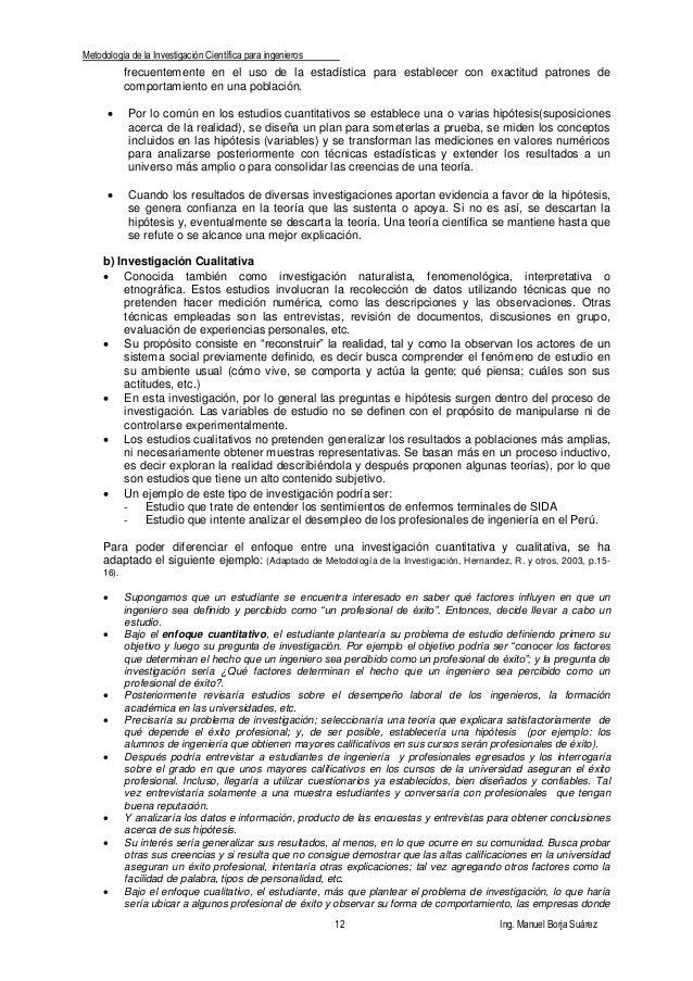 Metodología de la Investigación Científica para ingenieros 12 Ing. Manuel Borja Suárez frecuentemente en el uso de la esta...
