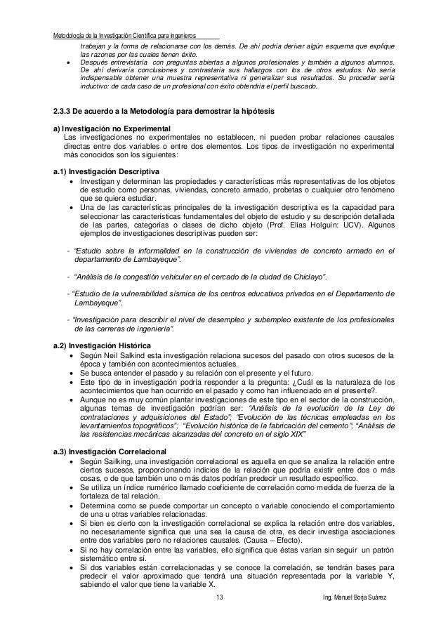Metodología de la Investigación Científica para ingenieros 13 Ing. Manuel Borja Suárez trabajan y la forma de relacionarse...