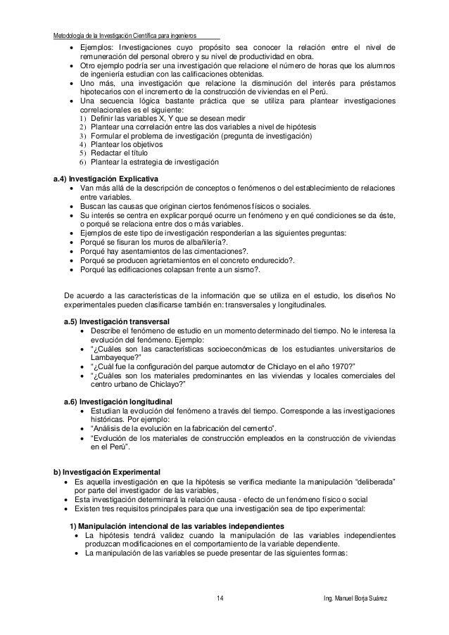 Metodología de la Investigación Científica para ingenieros 14 Ing. Manuel Borja Suárez  Ejemplos: Investigaciones cuyo pr...
