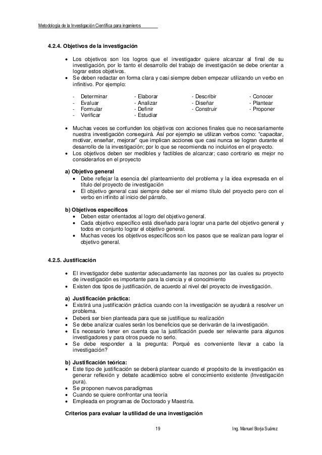 Metodología de la Investigación Científica para ingenieros 19 Ing. Manuel Borja Suárez 4.2.4. Objetivos de la investigació...