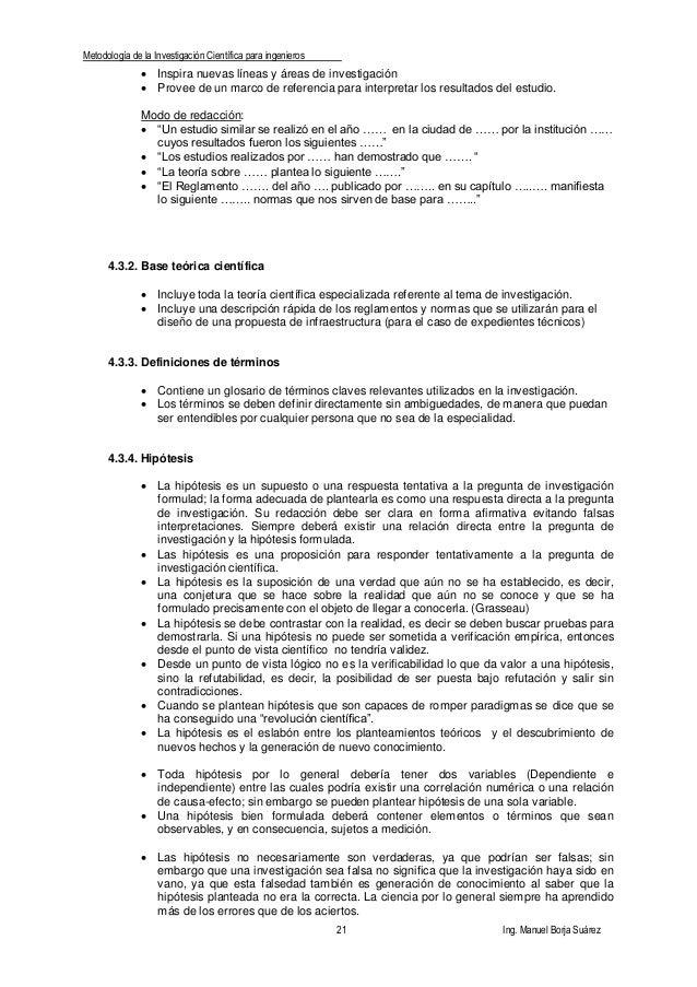 Metodología de la Investigación Científica para ingenieros 21 Ing. Manuel Borja Suárez  Inspira nuevas líneas y áreas de ...