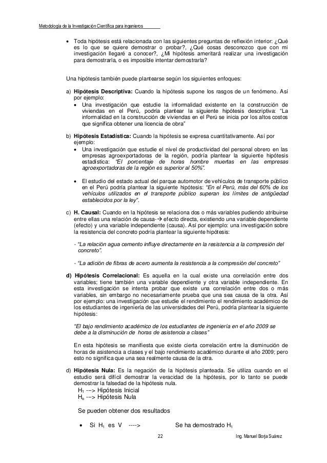 Metodología de la Investigación Científica para ingenieros 22 Ing. Manuel Borja Suárez  Toda hipótesis está relacionada c...