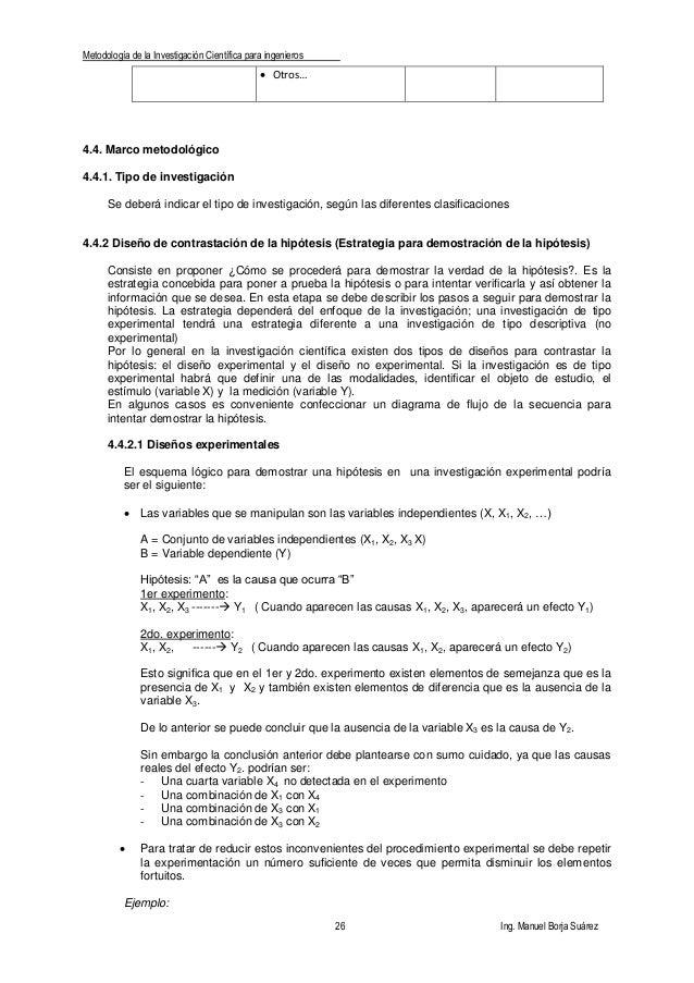 Metodología de la Investigación Científica para ingenieros 26 Ing. Manuel Borja Suárez  Otros… 4.4. Marco metodológico 4....