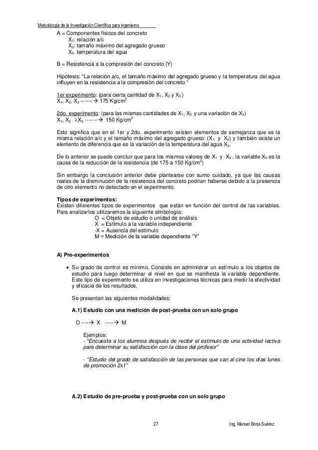 Metodología de la Investigación Científica para ingenieros 27 Ing. Manuel Borja Suárez A = Componentes físicos del concret...