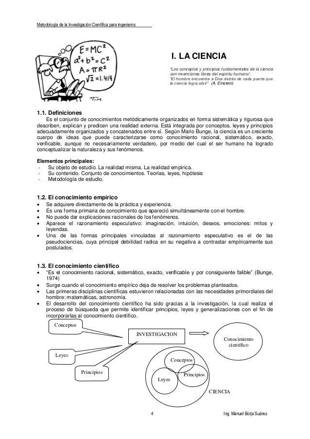 Metodología de la Investigación Científica para ingenieros 4 Ing. Manuel Borja Suárez INVESTIGACION Leyes Conocimiento cie...