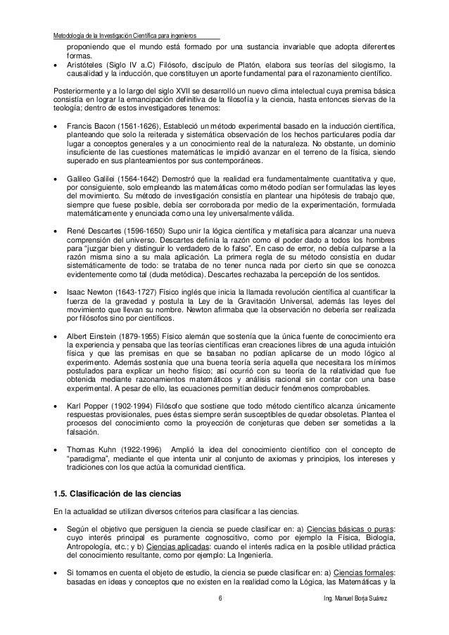 Metodología de la Investigación Científica para ingenieros 6 Ing. Manuel Borja Suárez proponiendo que el mundo está formad...