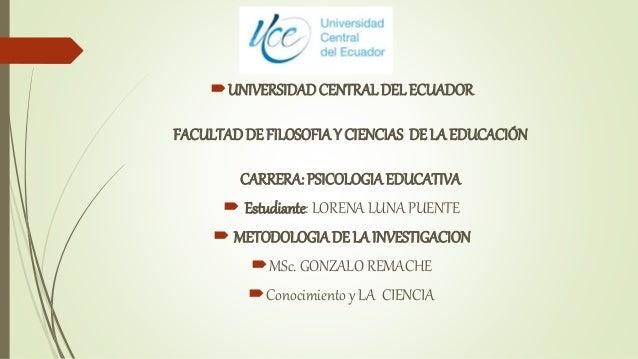 UNIVERSIDADCENTRAL DEL ECUADOR FACULTADDE FILOSOFIAY CIENCIAS DE LA EDUCACIÓN CARRERA: PSICOLOGIAEDUCATIVA  Estudiante: ...