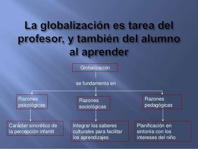 • La globalización exige partir en cada momento del grado de desarrolloreal del alumnado. Su objetivo es facilitar la apro...