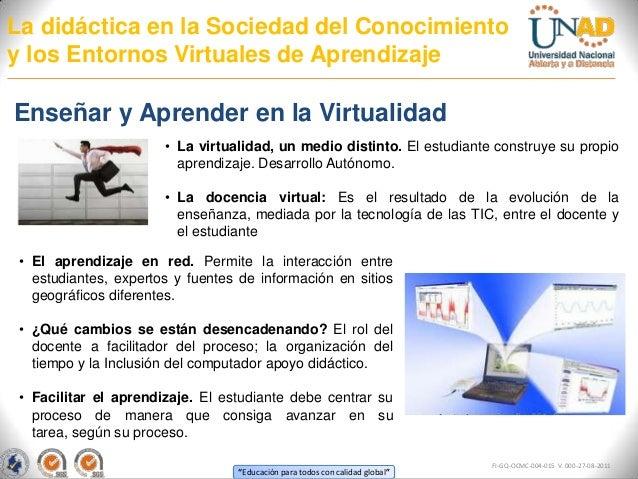 La didáctica en la Sociedad del Conocimientoy los Entornos Virtuales de AprendizajeEnseñar y Aprender en la Virtualidad   ...