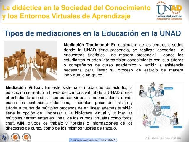 La didáctica en la Sociedad del Conocimientoy los Entornos Virtuales de AprendizajeTipos de mediaciones en la Educación en...