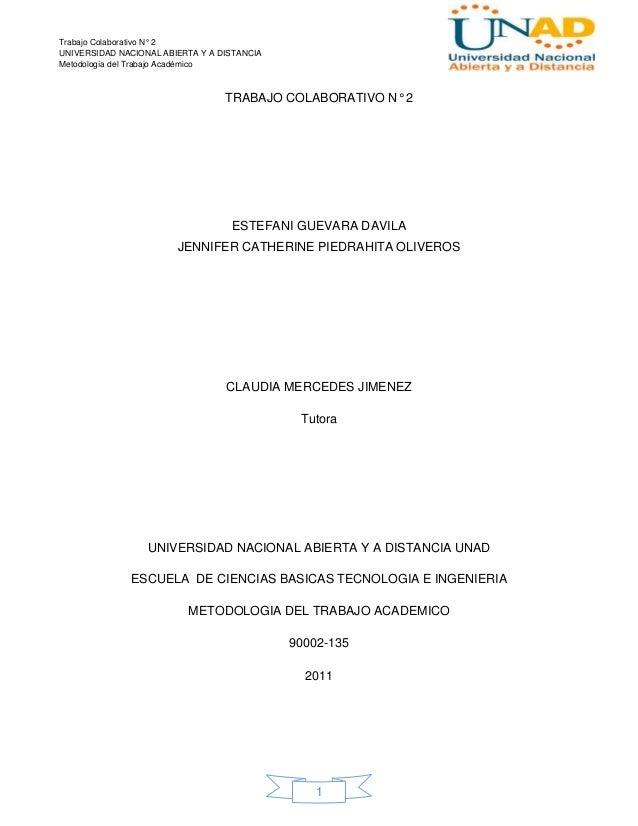 Trabajo Colaborativo N° 2UNIVERSIDAD NACIONAL ABIERTA Y A DISTANCIAMetodología del Trabajo Académico                      ...