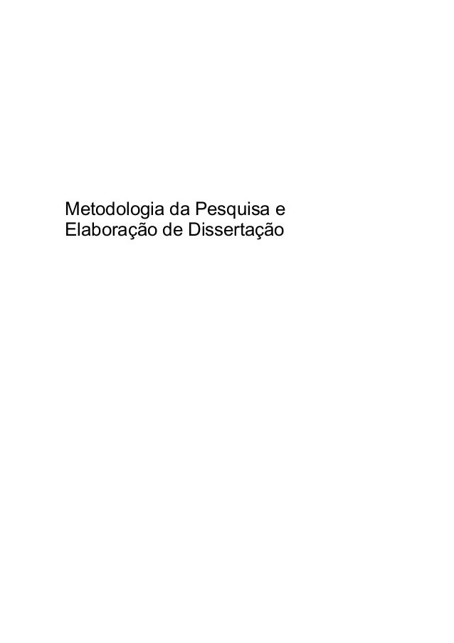 Metodologia da Pesquisa e Elaboração de Dissertação