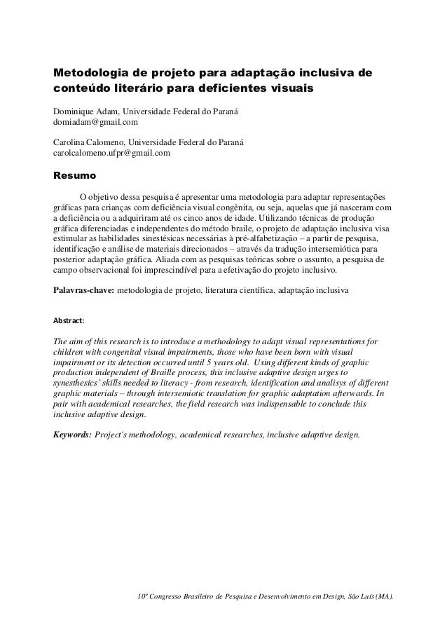 Metodologia de projeto para adaptação inclusiva deconteúdo literário para deficientes visuaisDominique Adam, Universidade ...