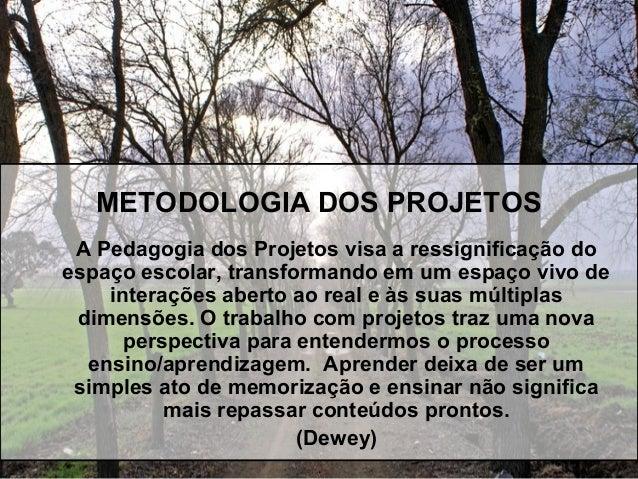 METODOLOGIA DOS PROJETOS A Pedagogia dos Projetos visa a ressignificação do espaço escolar, transformando em um espaço viv...