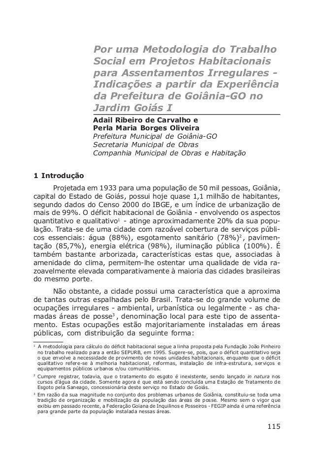 Por uma Metodologia do Trabalho Social emProjetos Habitacionais para Assentamentos Irregulares115Por uma Metodologia do Tr...