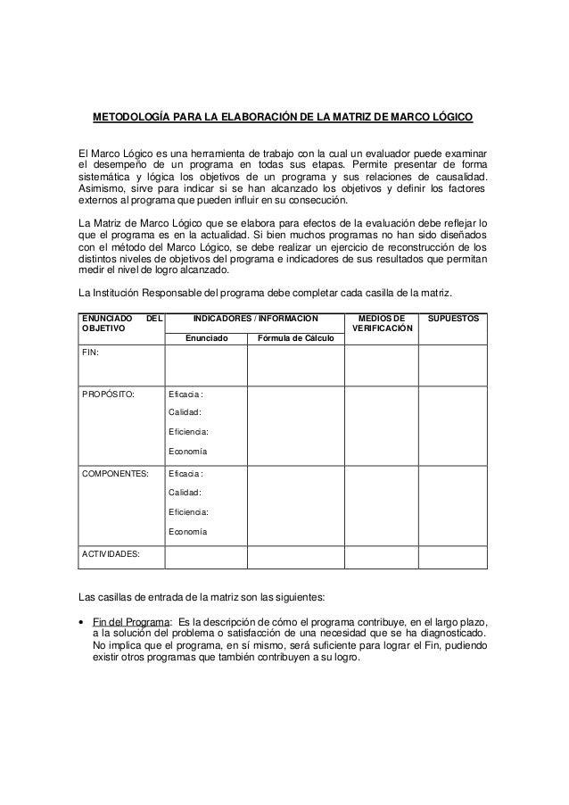 METODOLOGÍA PARA LA ELABORACIÓN DE LA MATRIZ DE MARCO LÓGICO El Marco Lógico es una herramienta de trabajo con la cual un ...