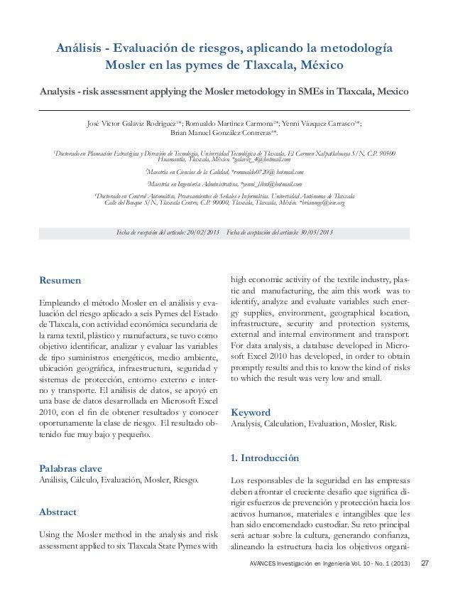 AVANCES Investigación en Ingeniería Vol. 10 - No. 1 (2013) 27 Resumen Empleando el método Mosler en el análisis y eva- lua...