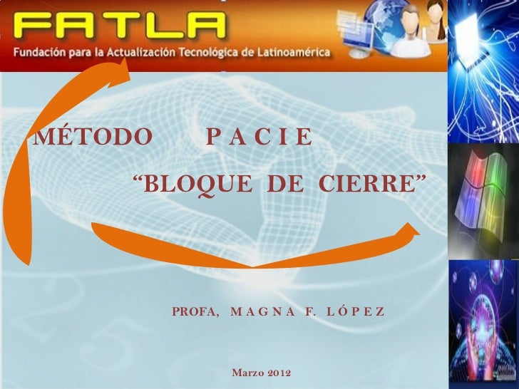 "MÉTODO       PACIE    ""BLOQUE DE CIERRE""         PROFA, M A G N A F. L Ó P E Z                 Marzo 2012"