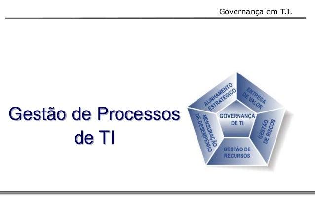 Governança em T.I.  Gestão de Processos  de TI