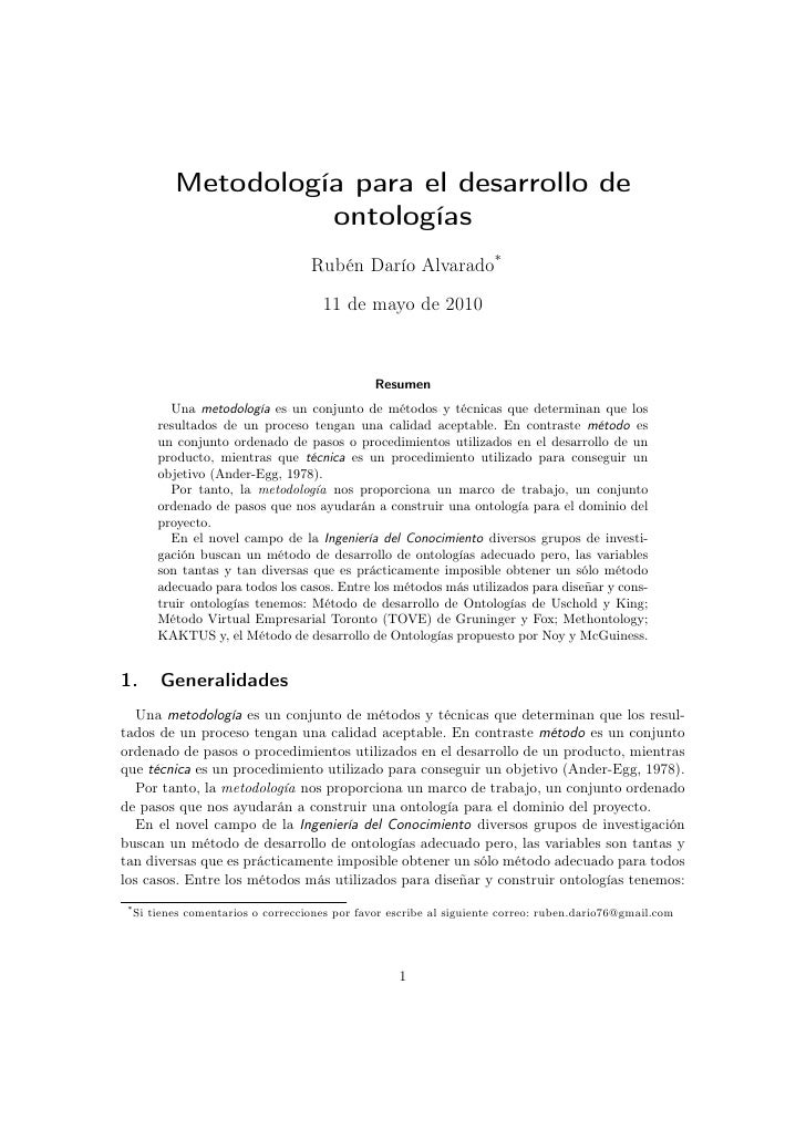 Metodología para el desarrollo de                       ontologías                                      Rubén Darío Alvara...