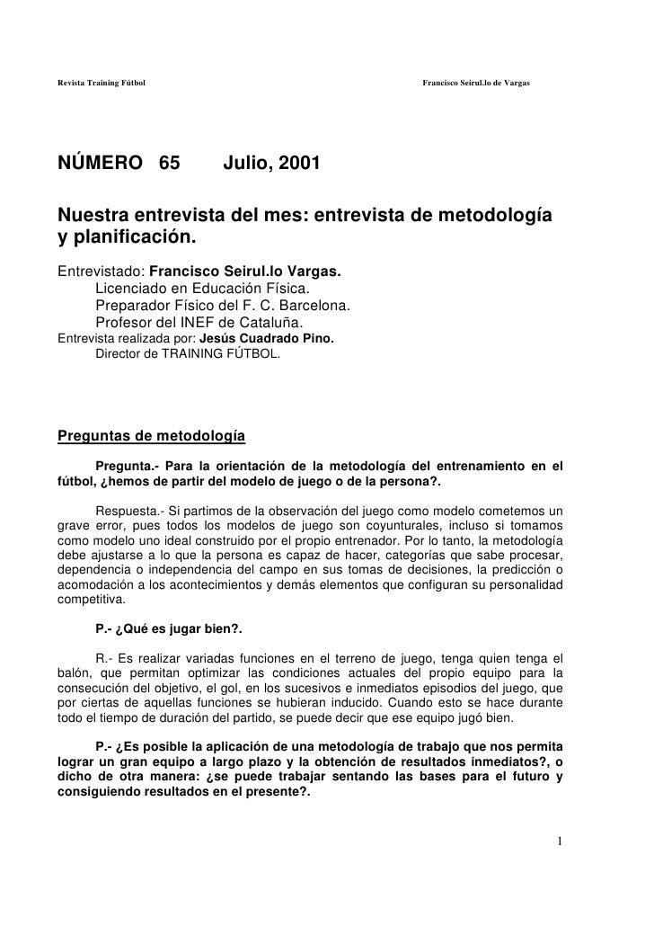 Revista Training Fútbol                                        Francisco Seirul.lo de VargasNÚMERO 65                    J...