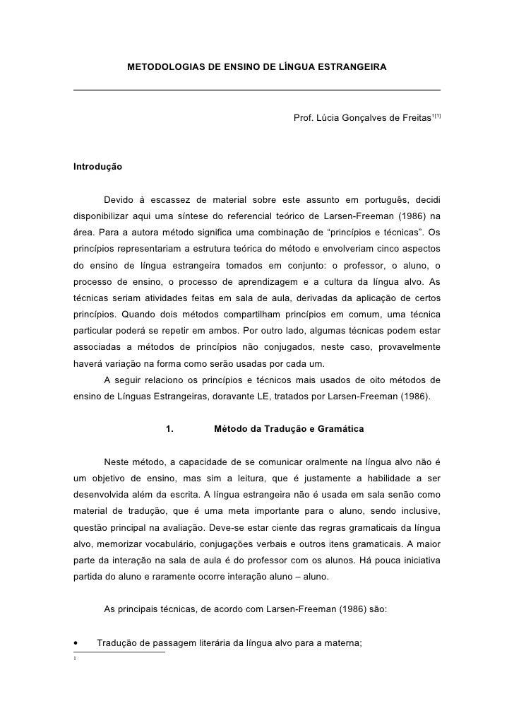 METODOLOGIAS DE ENSINO DE LÍNGUA ESTRANGEIRA                                                        Prof. Lúcia Gonçalves ...
