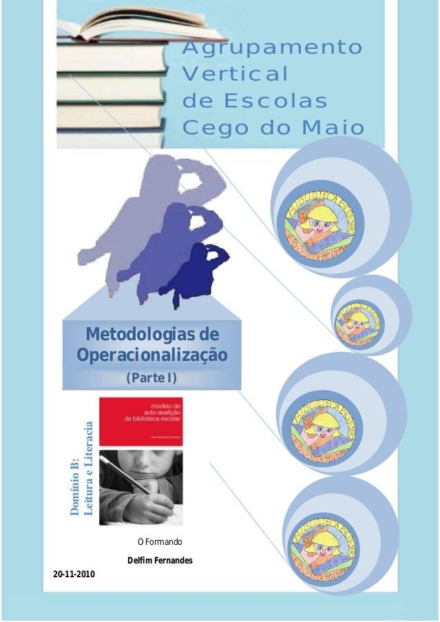 Relatório crítico do PAA do Agrupamento Vertical de Escolas Cego do Maio – Ano lectivo 2010/11 1 DomínioB: LeituraeLiterac...