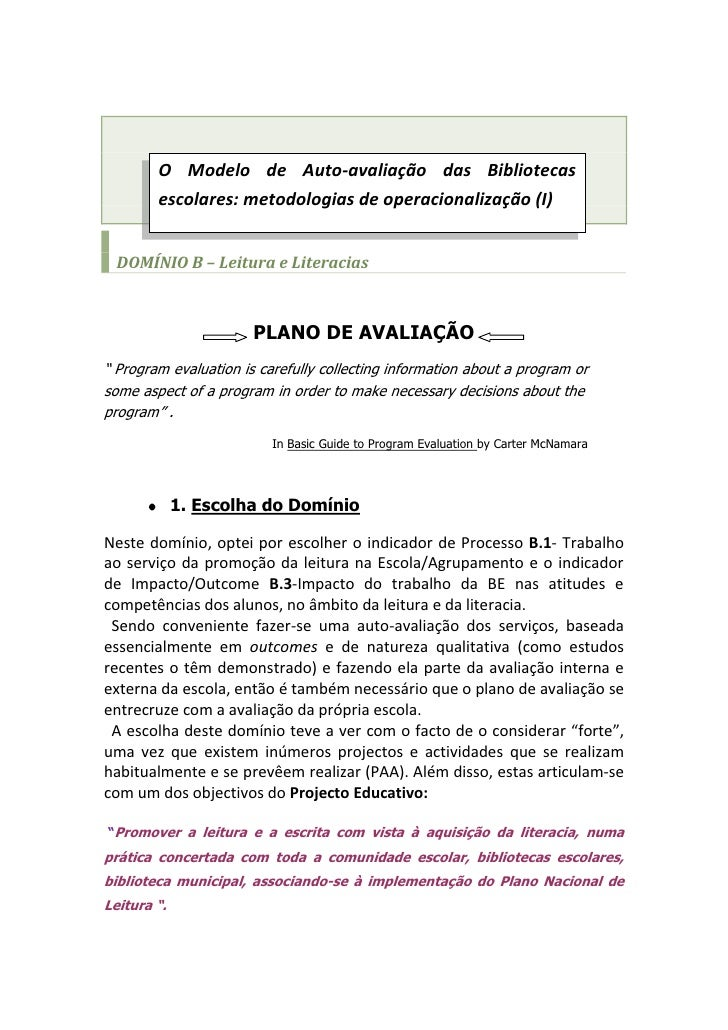 O Modelo de Auto-avaliação das Bibliotecas escolares: metodologias de operacionalização (I)                               ...