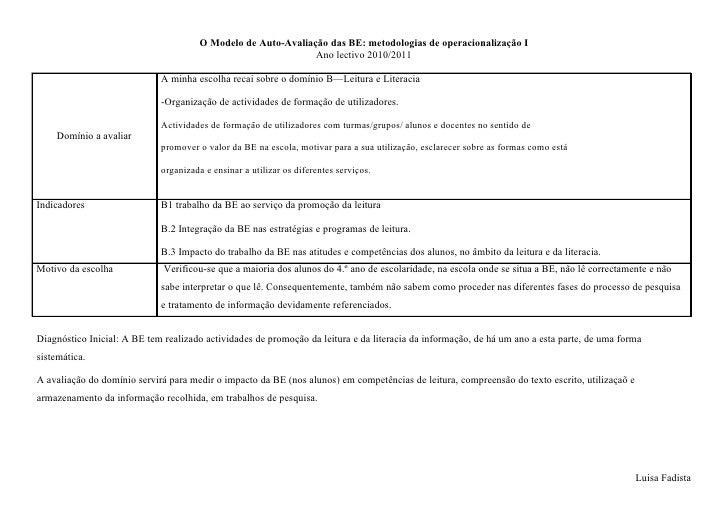 O Modelo de Auto-Avaliação das BE: metodologias de operacionalização I                                                    ...