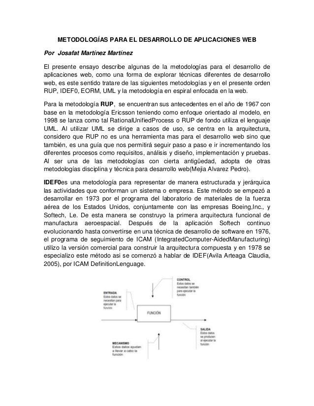 METODOLOGÍAS PARA EL DESARROLLO DE APLICACIONES WEBPor Josafat Martínez MartínezEl presente ensayo describe algunas de la ...