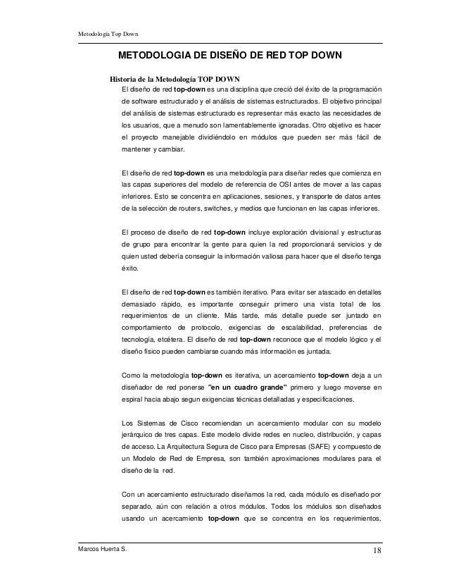 Metodología Top Down             METODOLOGIA DE DISEÑO DE RED TOP DOWN          Historia de la Metodología TOP DOWN       ...