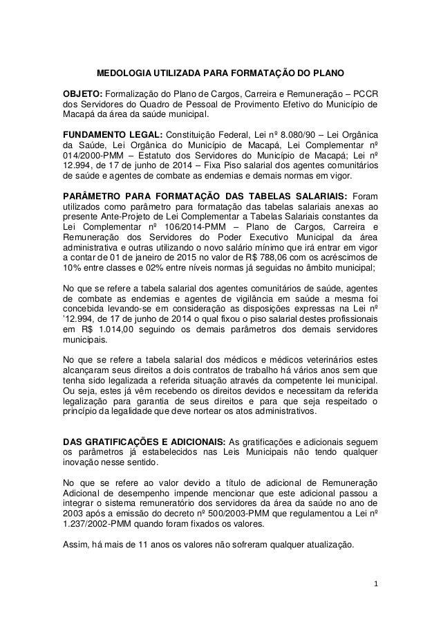 1 MEDOLOGIA UTILIZADA PARA FORMATAÇÃO DO PLANO OBJETO: Formalização do Plano de Cargos, Carreira e Remuneração – PCCR dos ...