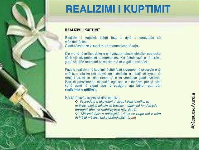 REALIZIMI I KUPTIMIT Realizimi i kuptimit është faza e dytë e strukturës së mësimdhënies. Gjatë kësaj faze lexuesi merr in...