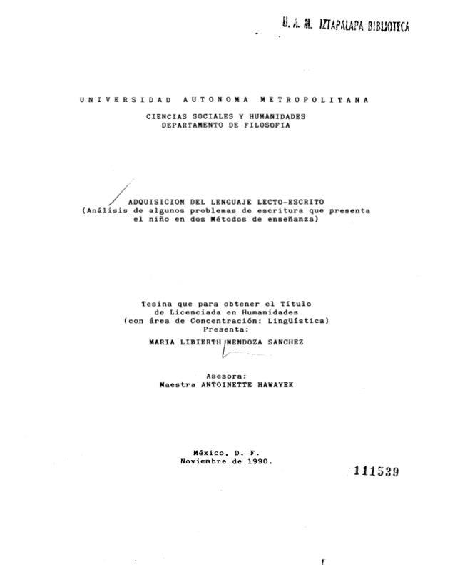 U N I V E R S I D A D A U T O N O M A M E T R O P O L I T A N A CIENCIAS SOCIALES Y HUMANIDADES DEPARTAMENTO DE FILOSOFIA ...