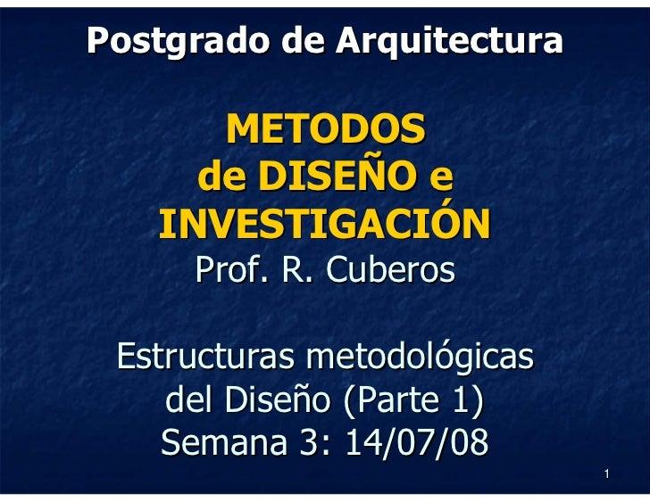 Postgrado de Arquitectura        METODOS      de DISEÑO e    INVESTIGACIÓN      Prof. R. Cuberos   Estructuras metodológic...
