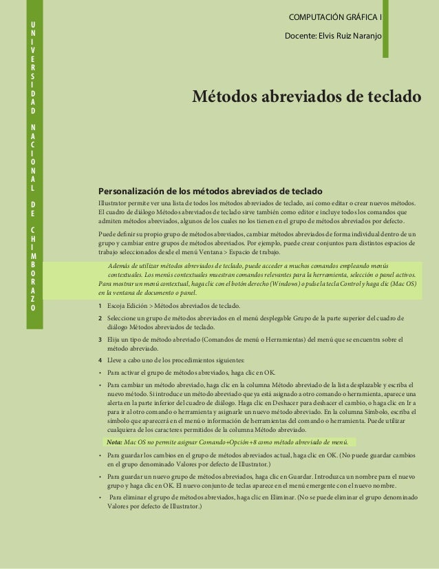 U  COMPUTACIÓN GRÁFICA I I  Docente: Elvis Ruiz Naranjo  N V E R S I D  Métodos abreviados de teclado A D N A C I O N L  A...