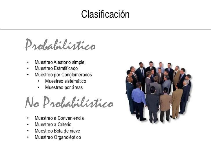No Probabilístico     Muestras intencionales     Selección de elementos (almacenes, ciudades, personas      con determin...