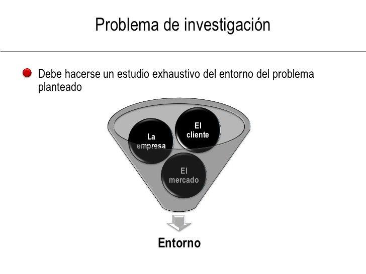 Problema de investigación  Debe hacerse un estudio exhaustivo del entorno del problema planteado                          ...