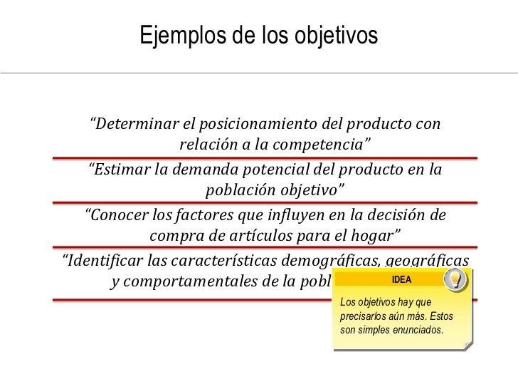 """Ejemplos de los objetivos       """"Determinar el posicionamiento del producto con                   relación a la competenci..."""