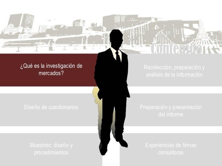 Contenido ¿Qué es la investigación de    Recolección, preparación y        mercados?                análisis de la informa...