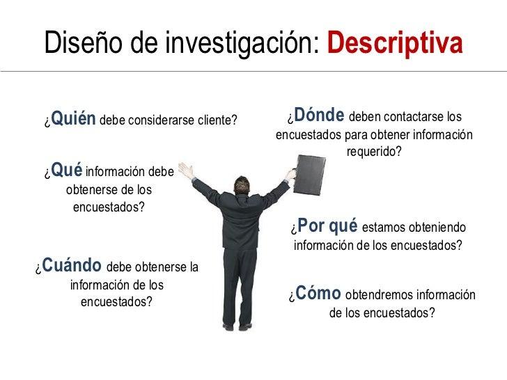 Diseño de investigación: Descriptiva   ¿Quién debe considerarse cliente?     ¿Dónde deben contactarse los                 ...