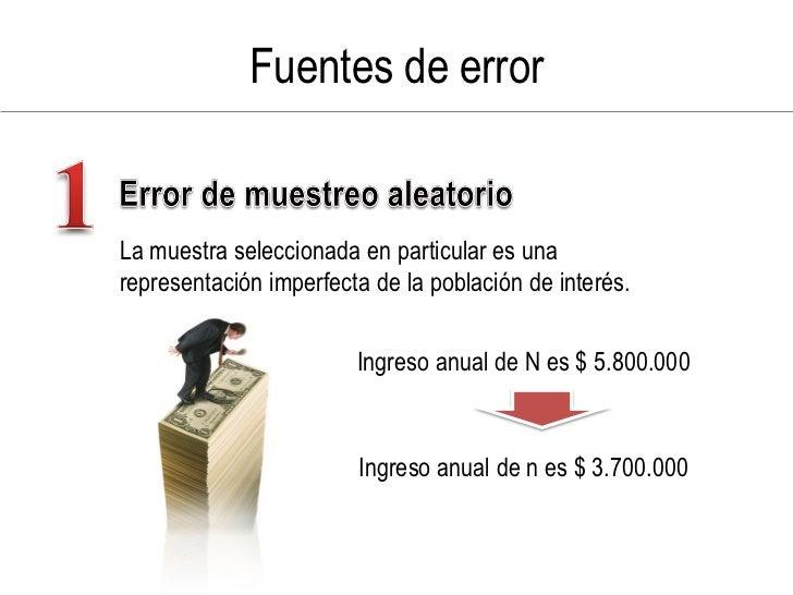 Fuentes de error   La muestra seleccionada en particular es una representación imperfecta de la población de interés.     ...